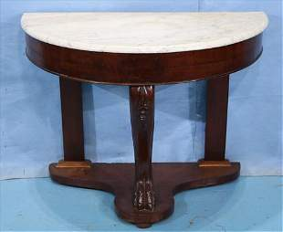Mahogany English console table with marble top