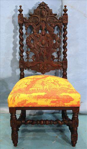Solid oak pierced carved chair attrib. to A. Roux