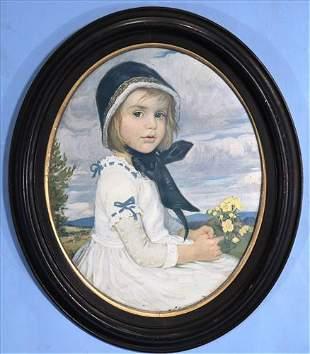 Print of little girl in Oval walnut Victorian frame