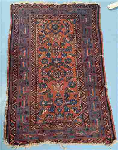 Small antique Persian rug, blue and red, 45 in. x 28