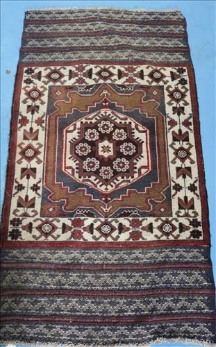 Small antique Persian rug, 57 in. x 29 in. blue, brown