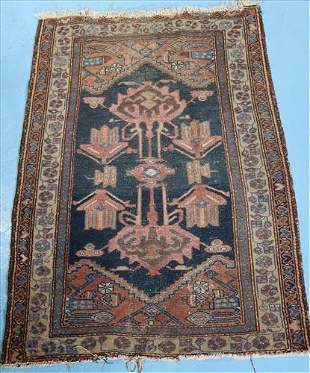 Small antique Persian rug, 44 in. x 30 in. pink, brown