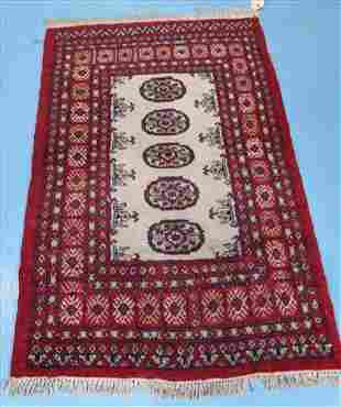 Antique Persian rug, 61 in. x 37 in. Red, blue, white