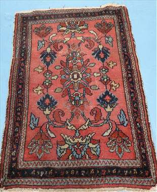 Antique Persian rug, 38 in. x 24 in. blue, brown, pink
