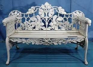 White cast iron garden bench w rams head on arms