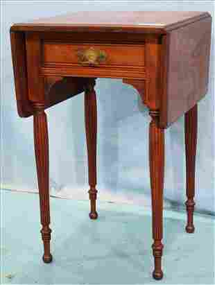 Mahogany drop leaf lamp table with drawer