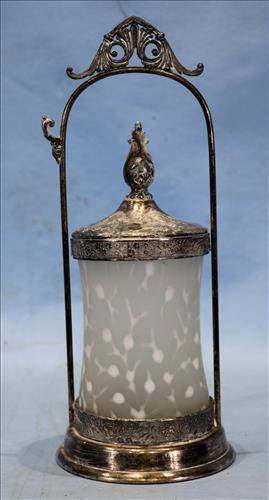 Victorian silver-plate pickle caster with frosted jar