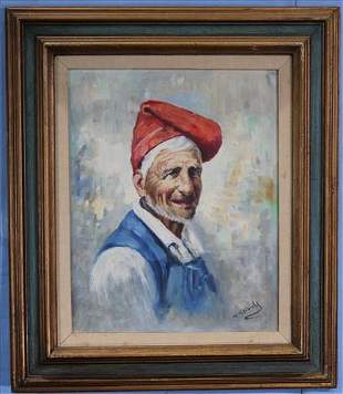 Oil on canvas of old man with red cap, 20 x 16