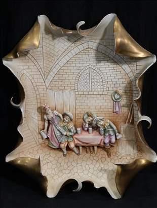 Porcelain plaque of English pub scene, 14 x 12