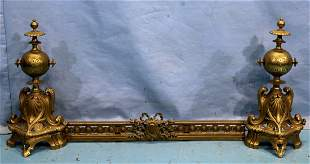 Mid 19th Century very eloquent gilt bronze chenets