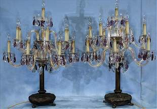 Pair of candelabra lamps with crystal prisms