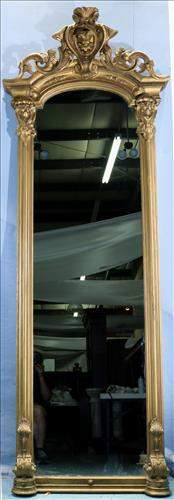 Gold gilded Victorian pier mirror with crown