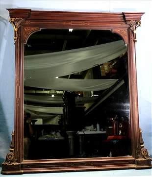 Walnut Victorian over the mantle mirror