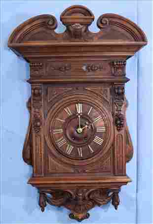Carved walnut Victorian French wall clock