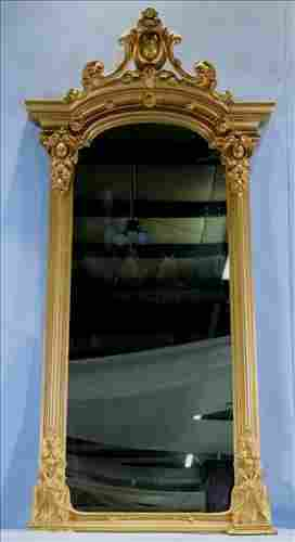 Gold gilded Victorian hanging mirror