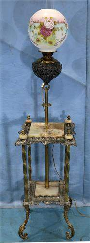 Victorian oil burning piano lamp with alabaster