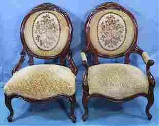 Pair of mahogany Victorian parlor chairs