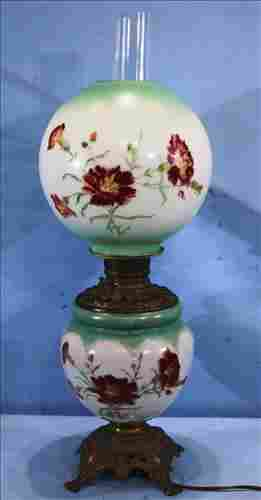Hand painted gone with the wind oil lamp