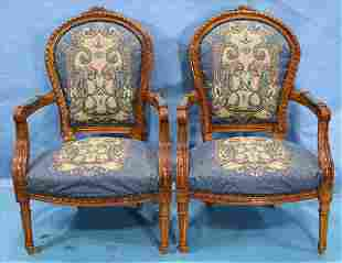 Pair of walnut contemporary French arm chairs