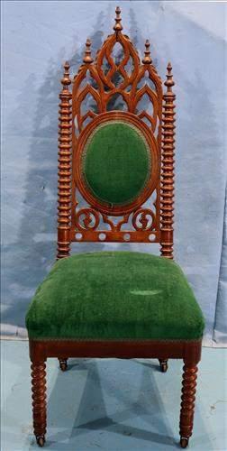 Walnut Victorian gothic music chair