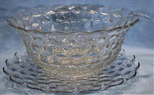 Large Fostoria punch bowl with underplate and ladle
