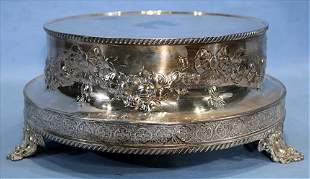 Victorian silver-plate ornate cake stand