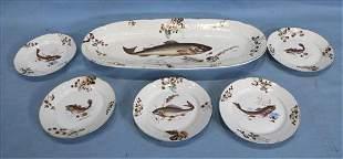 6 piece Austrian fish set, hand painted porcelain