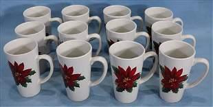 12 piece Christmas coffee mugs, 6 in. T.