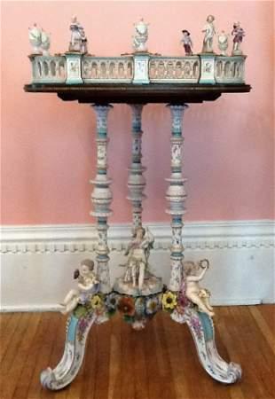 Beautiful rare antique Dresden lamp table