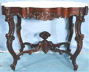 Unusual marble top rosewood parlor table