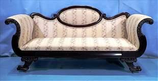 Mahogany Federal sofa with horn of plenty legs