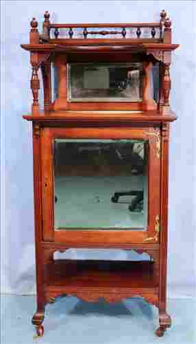 Walnut Victorian music cabinet with gallery