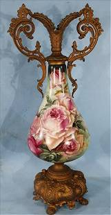 Victorian hand painted vase with metal base