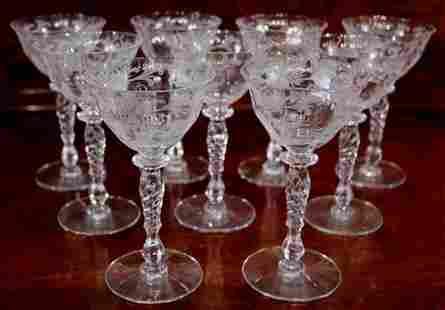 9 pieces of Fostoria etched wine glasses