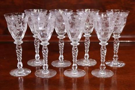 Set of 8 etched Fostoria wine Glasses