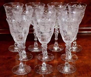 12 Fostoria long stem etched wine glasses