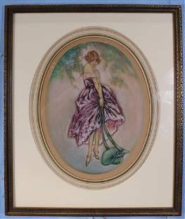 Framed pastel of young lady, La Bonnet Blue