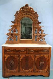 Walnut Victorian marble top sideboard