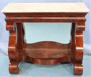Flamed mahogany Empire pier table by Meeks
