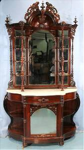 Rosewood Victorian etagere with bonnet crown