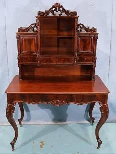 Walnut Victorian rococo writing desk with gallery