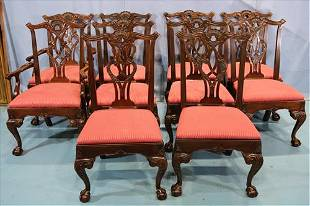Set of 10 Chippendale dining chairs, signed