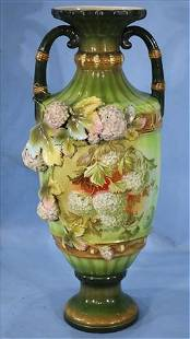 Green hand painted Austrian vase, 20 in. T.