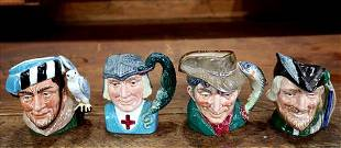 4 Royal Doulton Toby mugs, 4 in. T.