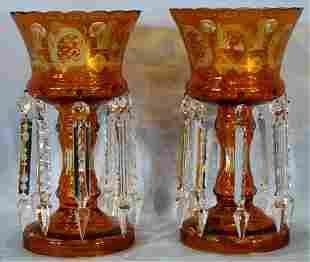 Pair of amber Bohemian lusters, 12 in. T.