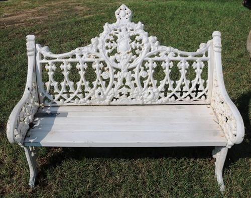 White cast iron bench with shield back