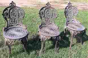 Set of 3 cast iron garden chairs, matches #290