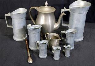 9 pieces of pewter and large pitcher