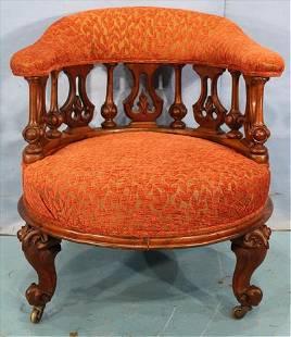 Walnut Victorian round parlor chair