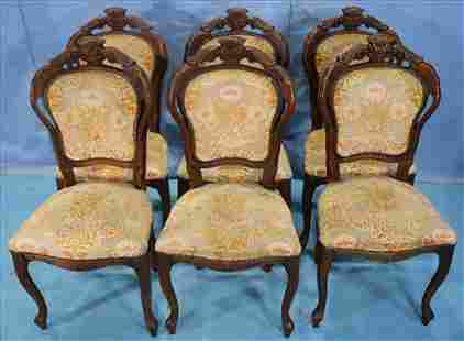 6 walnut Victorian dining chairs with carved back